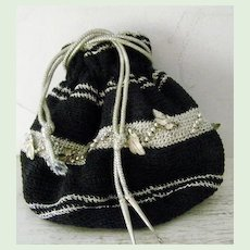 Silver and Black Crochet Reticule Evening Bag Pristine