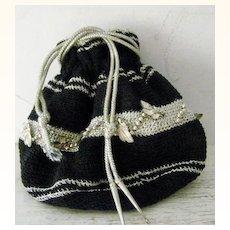 Silver & Black Crochet Reticule Evening Bag Pristine!