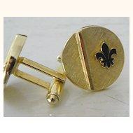 Signed fleur de lis goldtone cuff links