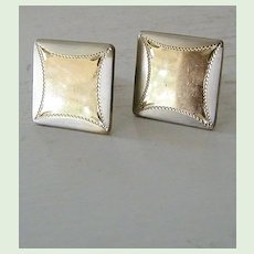 Square silvertone & goldtone cufflinks