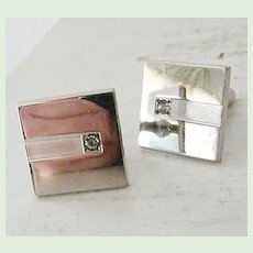 Anson Modern Silvertone Cufflinks with Diamond
