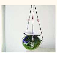 Swirled colored Art Glass Hanging Vase plant or votive holder