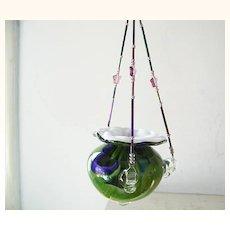 Swirled colored Art Glass Hanging Vase plant or votive holder