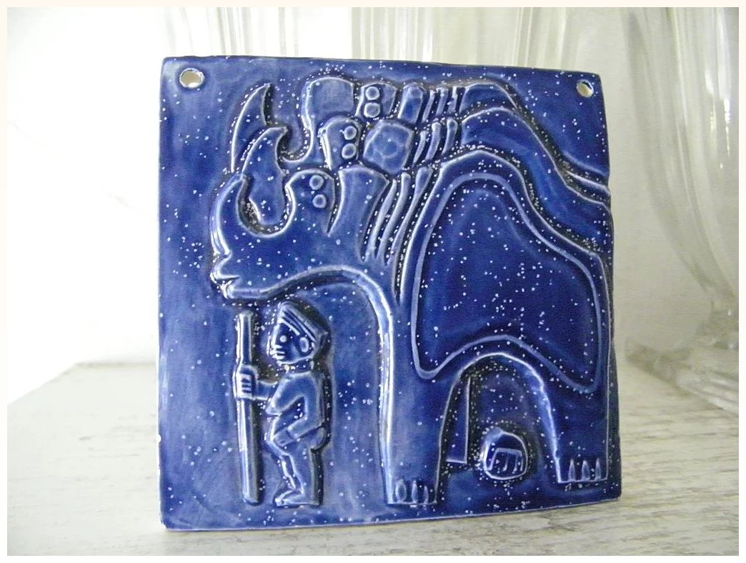 Blue ceramic art tile stylistic bas relief kitchengarden purses blue ceramic art tile stylistic bas relief click to expand dailygadgetfo Images