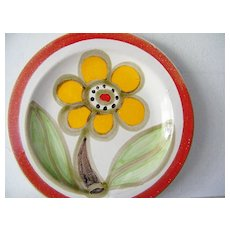 Original Signed DeSimone seeded Flower Plate Orange Red Green