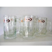 Set of 6 A&W Vintage Root Beer Glass Mugs