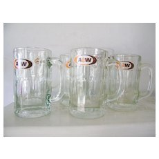 Set of 6 A&W Vintage Root Beer Glass Mugs Restaurant Ware