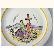 Vernon Kilns Gale Turnbull Plate  Artist signed  1937