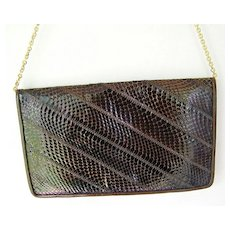 Brown Leather Snakeskin Clutch convert to Shoulder Bag Purse