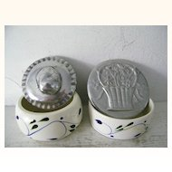 Two Signed BMT Mexican Pewter Trinket boxes Mexico pottery