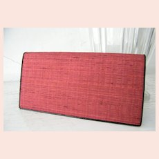 Red Raw Silk Checkbook Wallet Mint!