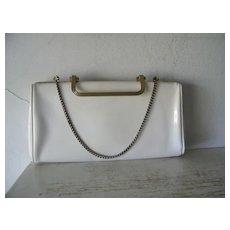 White patent convertible clutch handbag