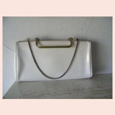 White patent convertible clutch handbag