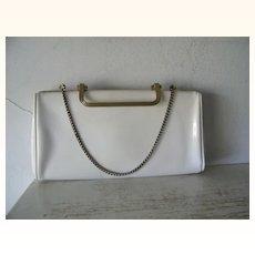 White patent convertible clutch / handbag