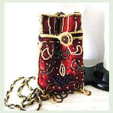 Unusual vintage Beaded Satin Cross body Evening Bag Purse