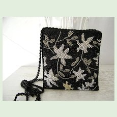 Glass and Silver Beaded Sequined Evening Purse Shoulder Bag