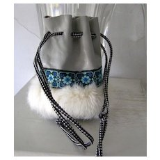 Leather and Fur Medicine Bag Southwest Style mint