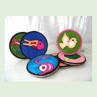 Mint! 6 Huichol Mexican Yarn Folk Art  Coasters NIP