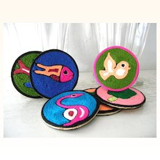 Mint! 6 Huichol Mexican Yarn Folk Art  Coasters NIP