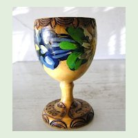 Handpainted Wood Egg Cup from Anton am Arlberg, Austria