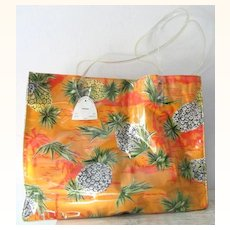 Hawaiian Sand and Sun Pineapple Cotton and Vinyl Tote mint