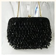 Walberg Hand Made Black  Lucite Beaded handbag 2 rhinestone clasp