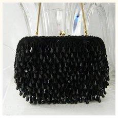 Walberg Hand Made Black  Lucite Beaded handbag 2 rhinestone clasp