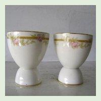 2 Porcelain Floral Double Egg Cups Pink Roses