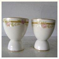 2 Porcelain Floral Egg Cups Pink Roses Shabby Chic