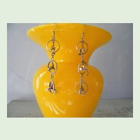 Sterling Silver Dolphin Dangle Earrings 6.4 gram