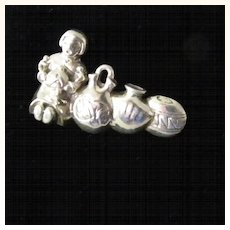 Sterling Silver Pendant or Brooch Mexico Silver Woman with Pots
