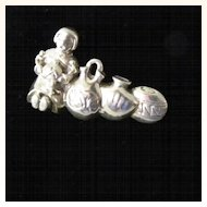 Unusual Sterling Silver Pendant or Brooch Woman with Pots