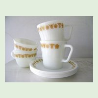 Butterfly Gold Pyrex Mugs and Cups with Saucers 9 pieces