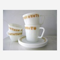 9 Pieces Pyrex Butterfly Gold  Mugs and Cups with Saucers
