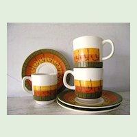 9 vintage pieces Galaxy Stoneware Harvest colors  Circa 1960