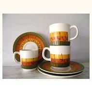 9 piece Modern Danish Motif Platter, Serving Bowl Cups and Saucers Circa 1960