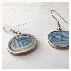 Sterling Silver &  porcelain pottery shard Earrings