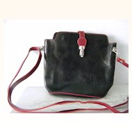 VIGANT Red and Black Italian Leather Shoulder Bag Cross body Purse