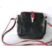 VIGANT Black Red Italian Leather Shoulder Bag Cross body Purse