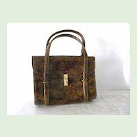 Vintage CARA Tortoise Brown Patent Handbag * Multi Compartments
