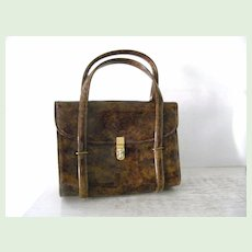 Vintage CARA Tortoise Brown Patent Handbag * Multi Compartments