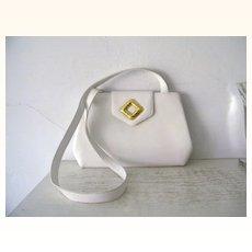 Frances Patiky Stein White Italian leather Shoulder Bag Purse Mint