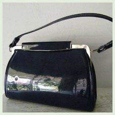 Vintage Navy Blue Patent Handbag / Kelly Bag Purse