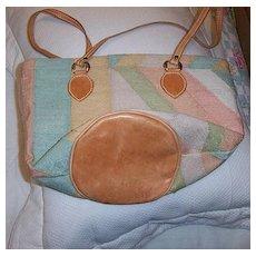 Multi  Color Cotton and Leather Handbag