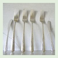 6 Pieces Towle Sterling Silver Flatware Rambler Rose Forks and Butter Spreaders