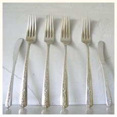 6 Pieces Towle Sterling Rambler Rose Forks and Butter Spreaders