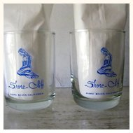 2 Mermaid Drinking Glasses Blue On Glass