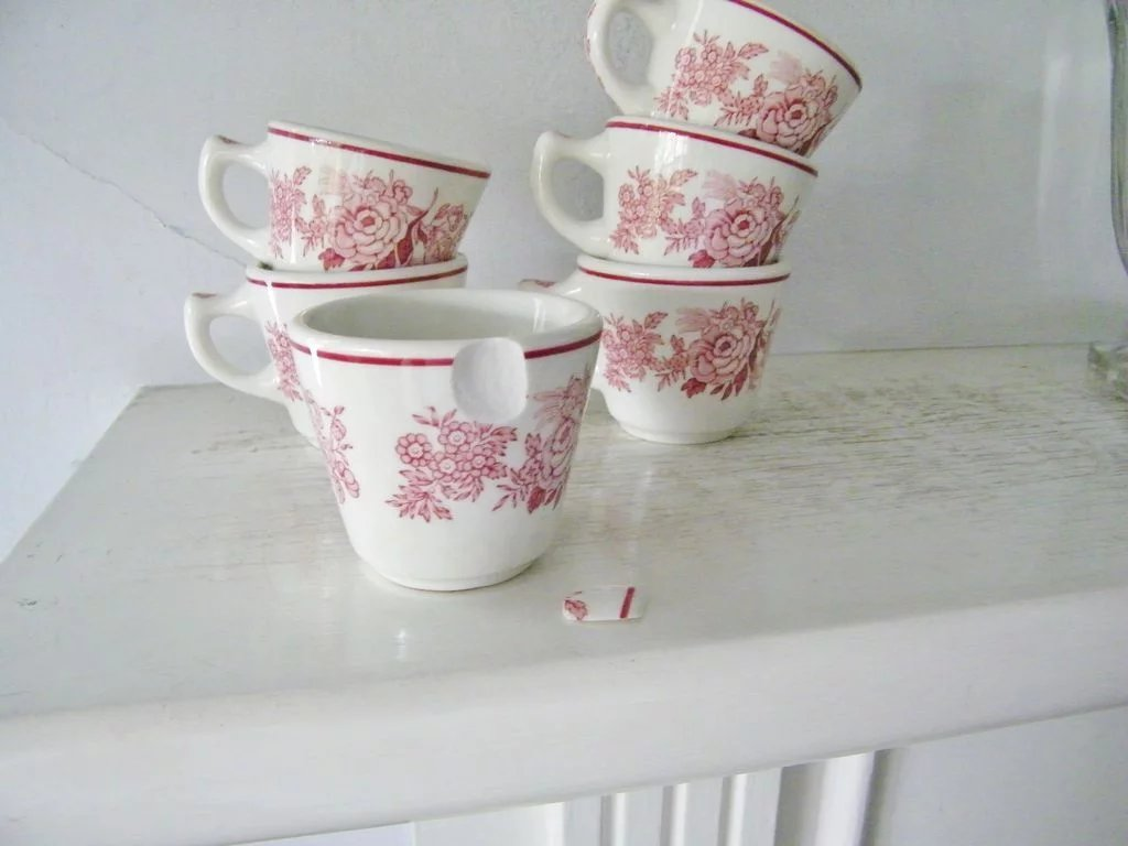 Walker China Red Pink Roses flowers Restaurant Ware Cups ...