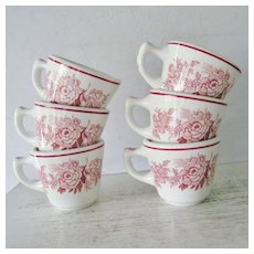 Walker China Red Pink Roses flowers Restaurant Ware Cups set of six 6