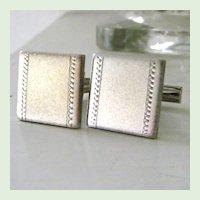 Square Burnished Silvertone Cufflinks
